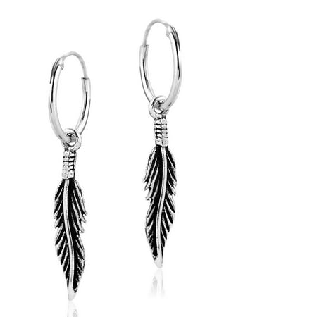 Bohemian Tribal Feather .925 Sterling Silver Hoop Earrings (Feather Earrings Silver)