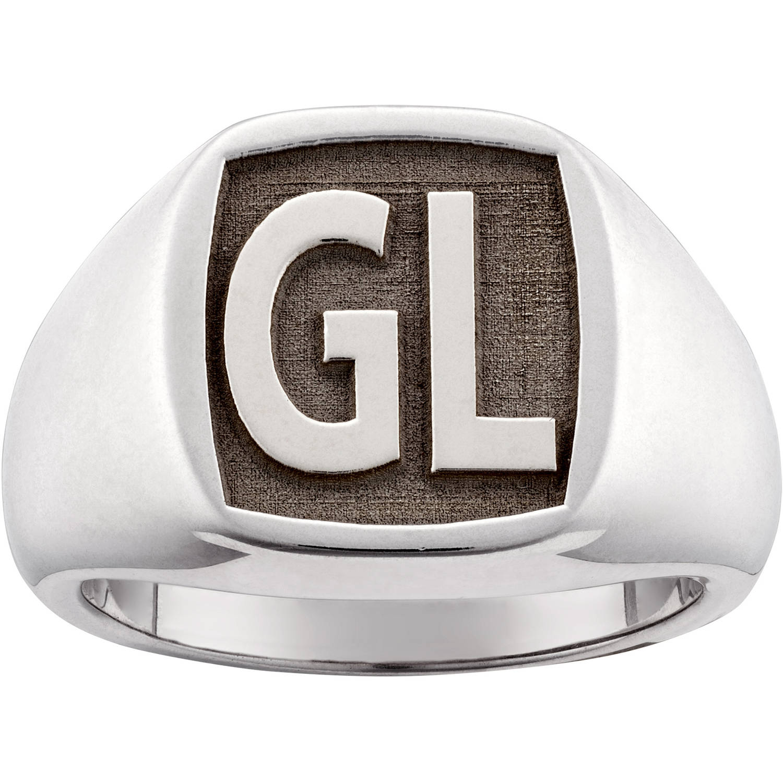 Personalized Men's Sterling Silver Laser Engraved Square Monogram Signet Ring