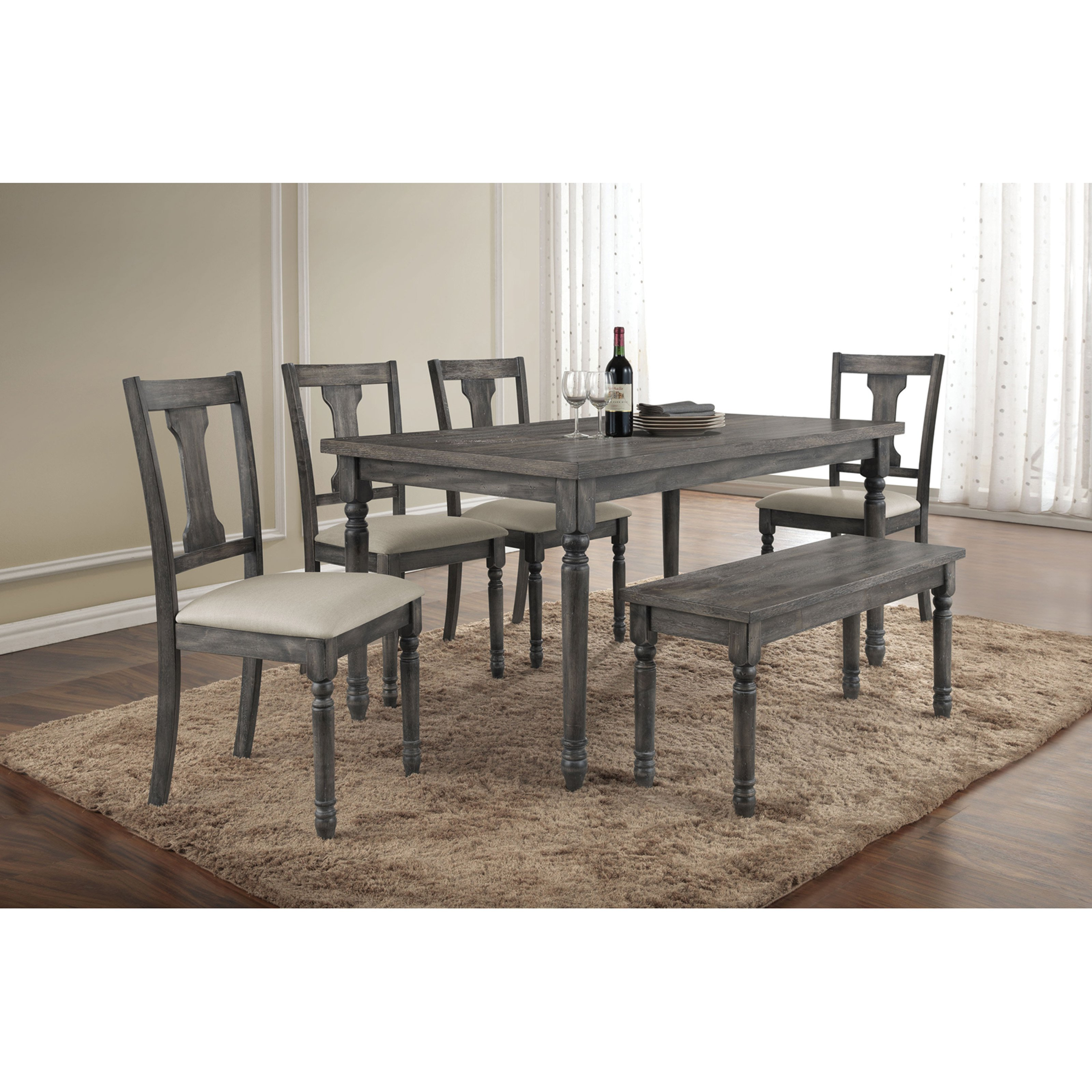 ACME Wallace Dining Table, Weathered Blue Washed by