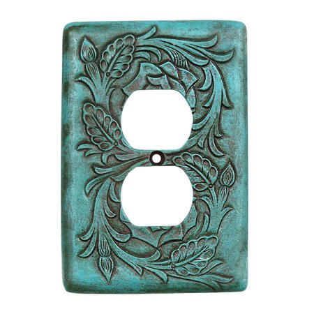 Turquoise Tooled Leather Southwestern Outlet Cover - Rustic Decor