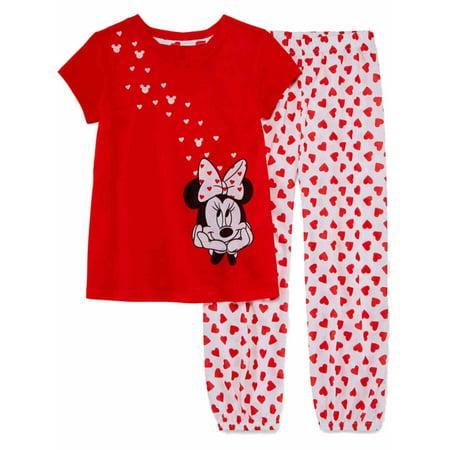 Disney Toddler & Girls Red Hearts Minnie Mouse Valentine Pajamas Sleep Set - Valentines Pajamas