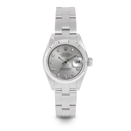 Pre Owned Rolex Datejust 69174 w/ Silver Diamond Dial 26mm Ladies Watch (Certified Authentic & Warranty Included)