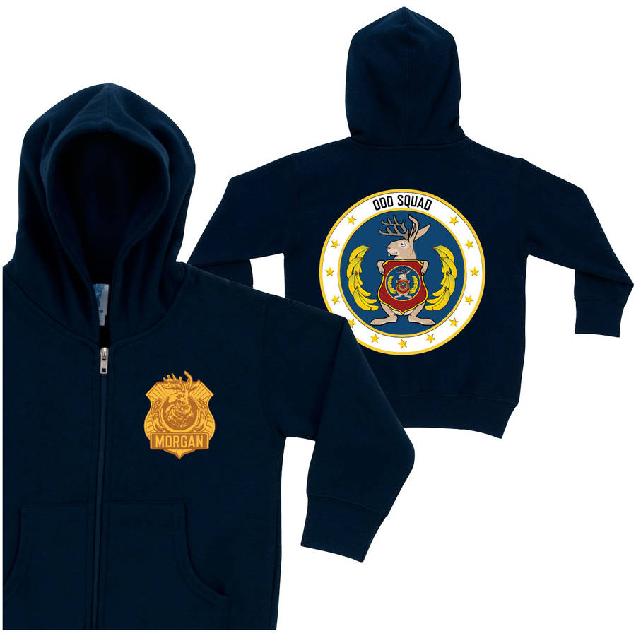 Personalized Odd Squad Badge Navy Toddler Boy Zip-Up Hoodie