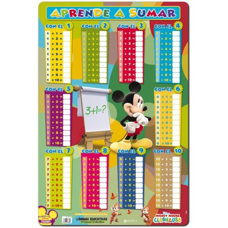 Mickey Mouse Clubhouse - Laminated Disney Educational Poster / Lamina Didactica (Aprende A Sumar / Learn Your Addition) (Size: 15.5