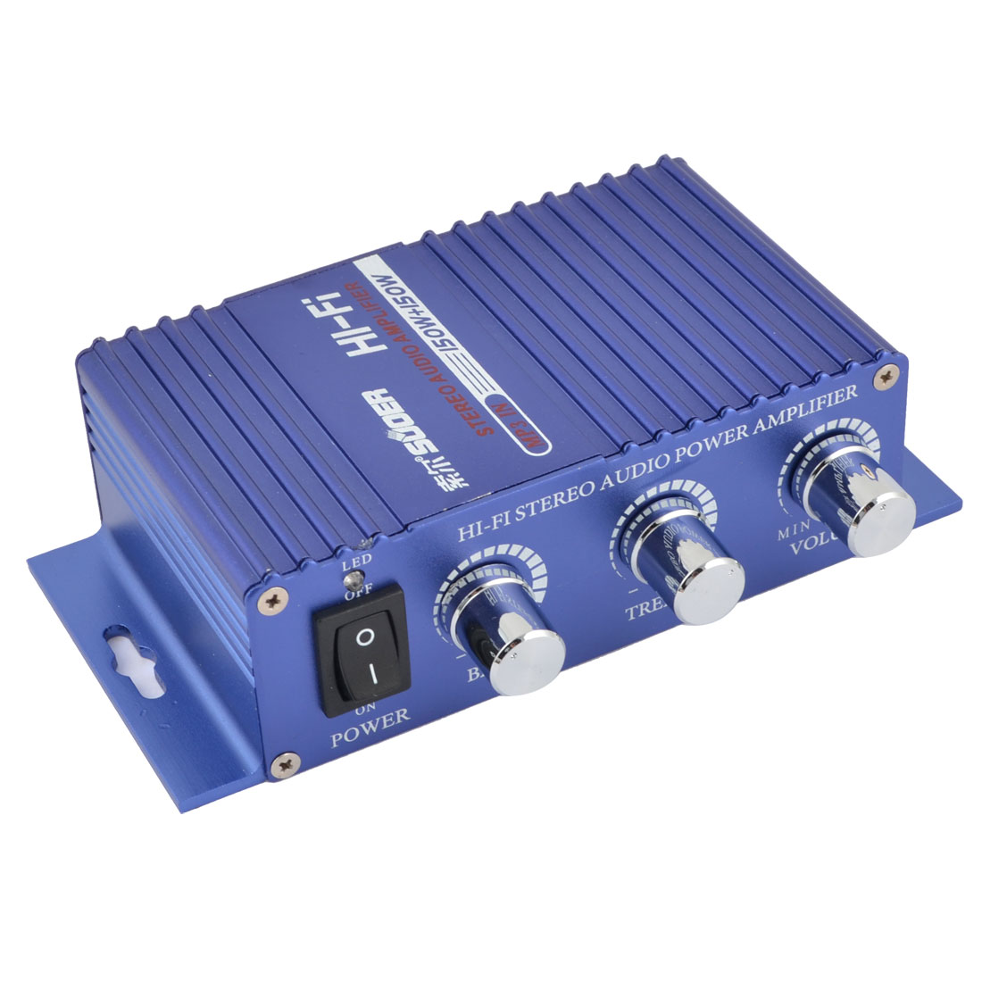 Unique Bargains SON-8251A 3.5mm Ports Blue Aluminum Audio Power Amplifier 150W