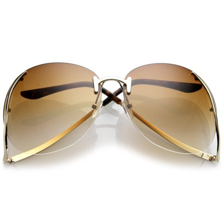 Women's Rimless Curved Metal Arms Round Tinted Lens Oversize Sunglasses 67mm (Gold / (67mm Sunglasses)