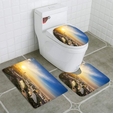 GOHAO Olympic Sports Center 3 Piece Bathroom Rugs Set Bath Rug Contour Mat and Toilet Lid Cover - Sports Center Pieces
