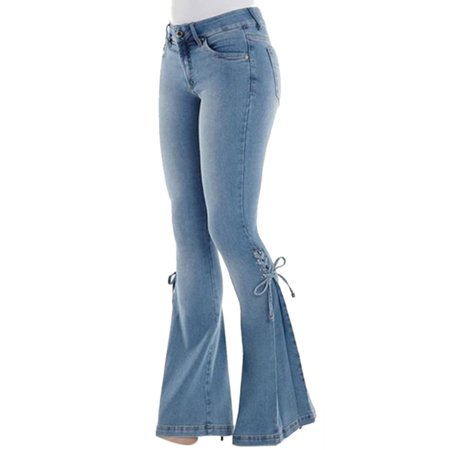 Vintage High Waisted Flared Bell Bottom Jeans Trendy Stretch Denim Pants Casual Trousers For Women S-3XL - Bell Bottom Jeans Womens