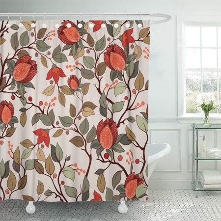 PKNMT Jacobean Colorful Floral Pattern With Big Flowers Plants Magnolia Beautiful Blossom Waterproof Bathroom Shower Curtains Set 66x72 Inch