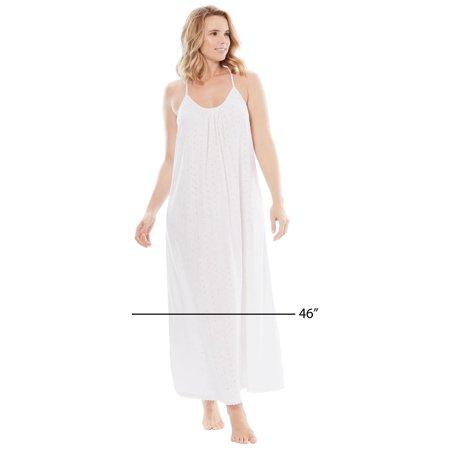 Dreams & Co. Plus Size Breezy Eyelet Knit Long Nightgown