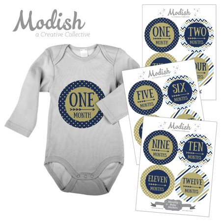 Modish Monthly Baby Stickers, Boy, Navy Blue, Baby Blue, Gold, Arrows, Tribal, Baby Photo Prop, Baby Shower Gift, Baby Book Keepsake
