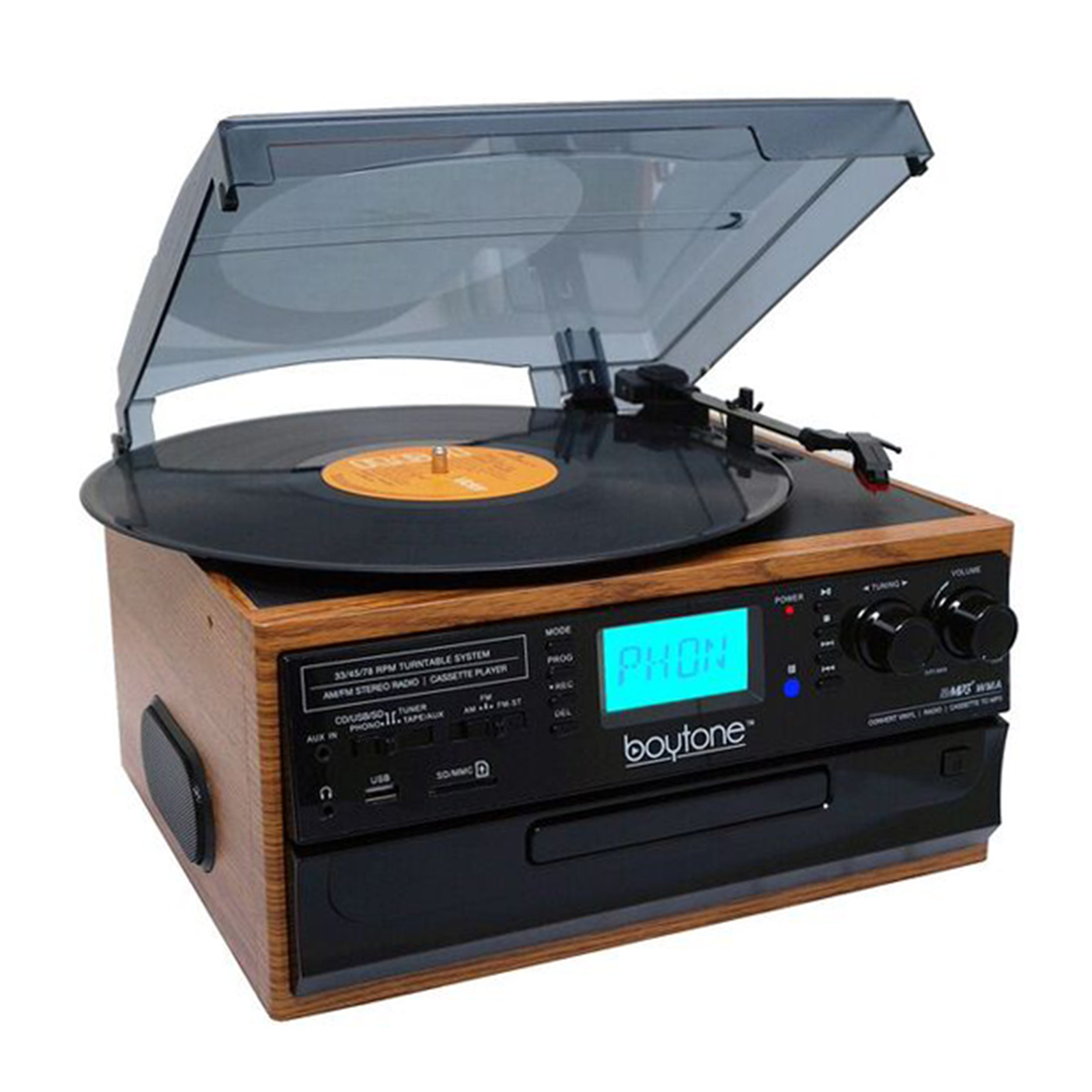 Boytone BT IN & OUT Classic Style Record Player Turntable with AM/FM Radio, Cassette Player, CD Player, 2 Separate Stereo Speakers, Record Vinyl, Radio, Cassette to MP3, SD Slot, USB, AUX