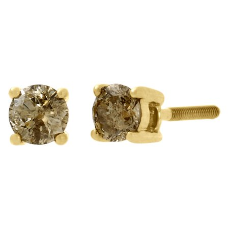 Gold Champagne Diamond Earrings - 10K Yellow Gold Ladies Solitaire Brown Champagne Diamond Studs Earrings 0.50 Ct.