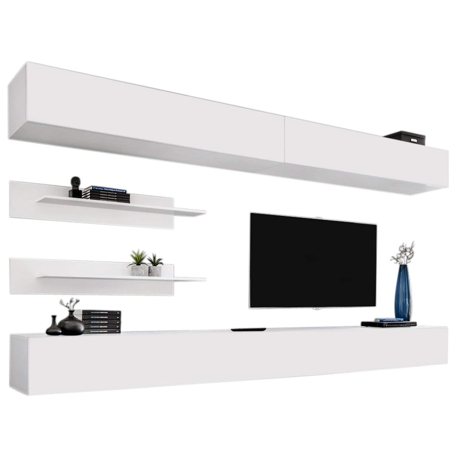 Wall Mounted Floating Modern Entertainment Center Fly I, White, I1