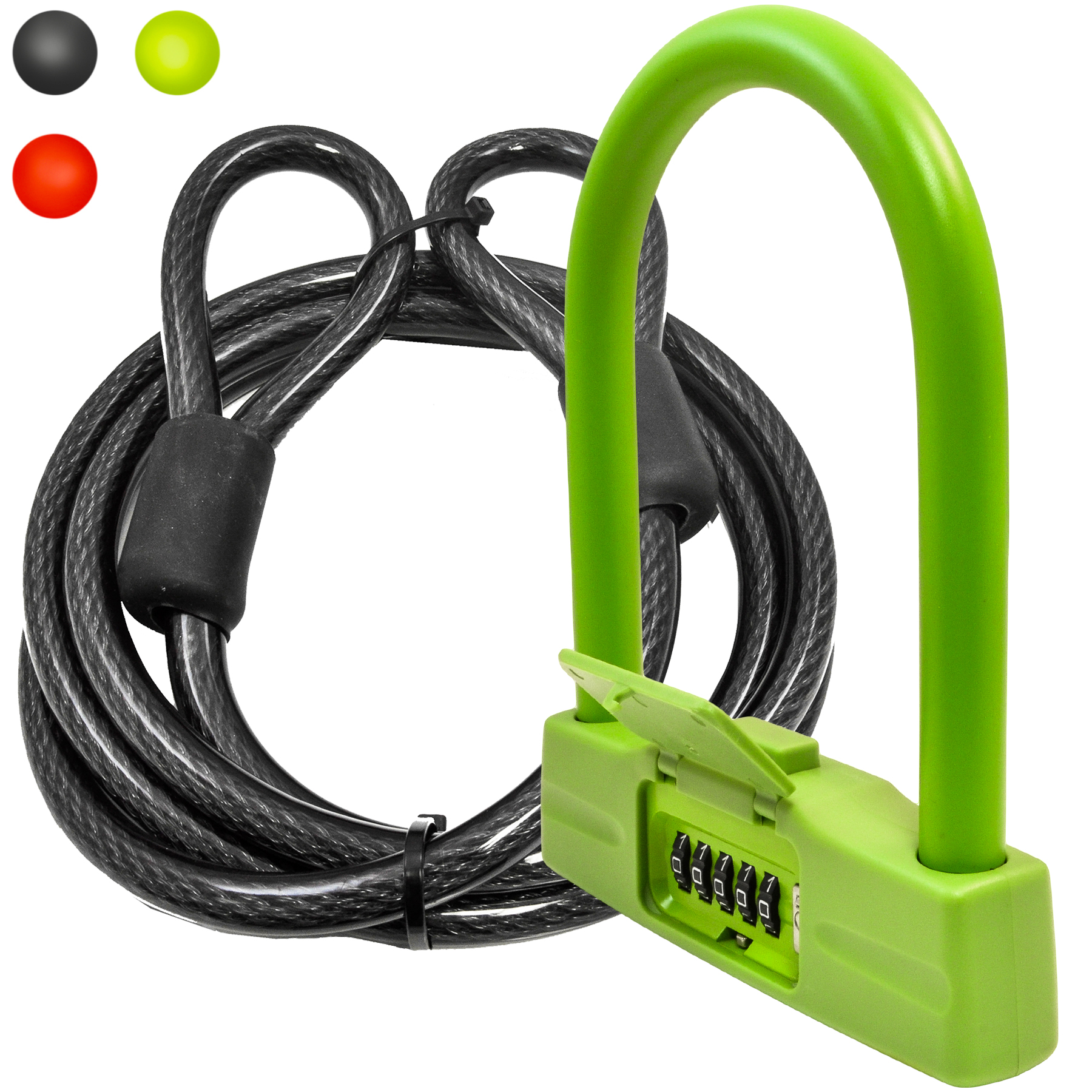 Lumintrail 18mm 5 Digit Combination Bike U-Lock with Optional 4-Foot or 7-Foot Braided Steel Security Cable