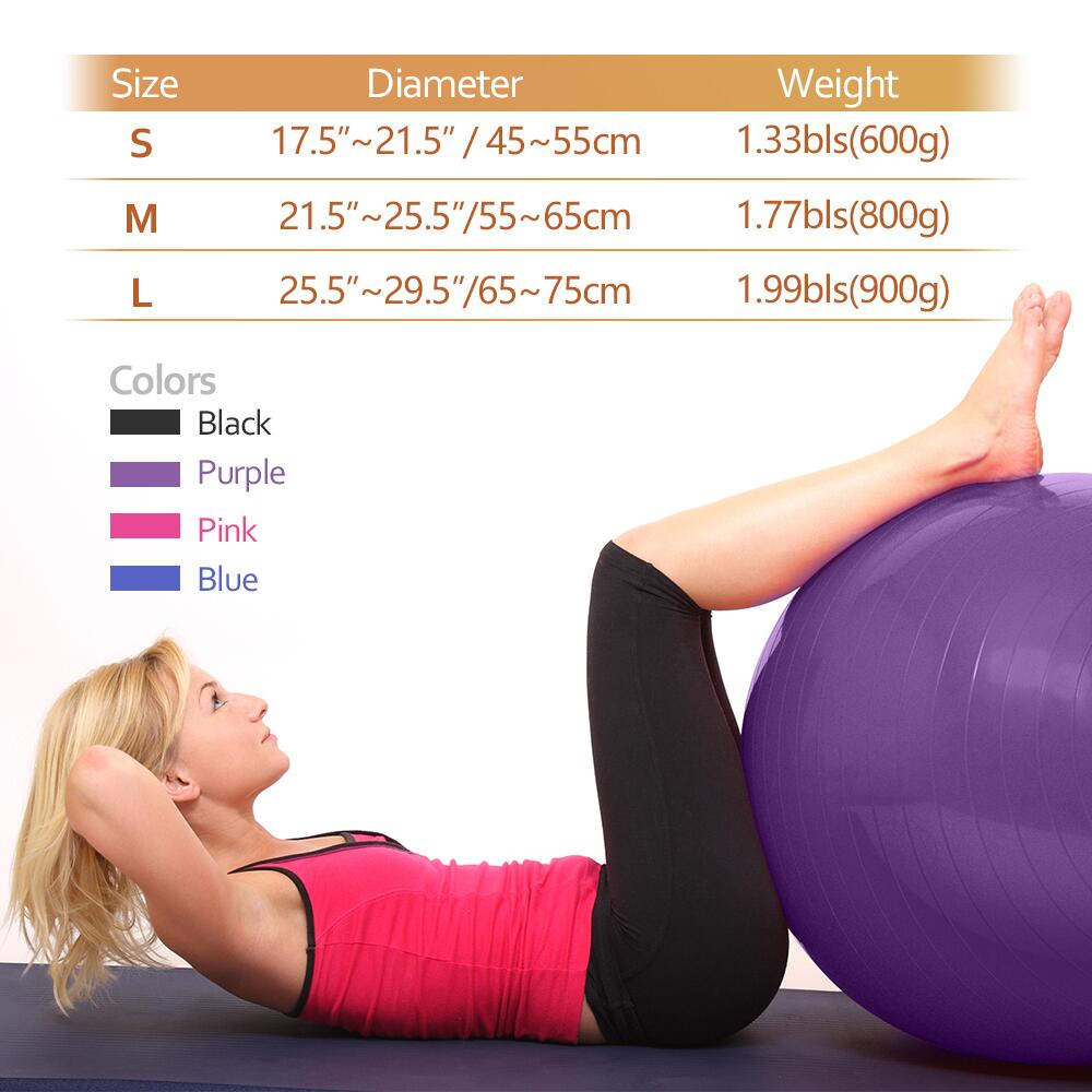 45CM-85CM, 4 Colors 400 lbs Anti-Burst Slip-Resistant Yoga Balance Stability Swiss Ball for Fitness Exercise with Free Air Pump Forbidden Road Exercise Yoga Ball