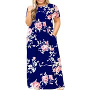 Short Sleeve Plus Size Women Print Long Maxi Dress