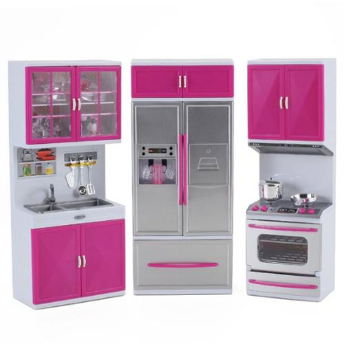 My Modern Kitchen Full Deluxe Kit Battery Operated Kitchen Playset: Refrigerator, Stove, Sink (Dimension: 18 x 14 x 4 inches)(Gift Idea)