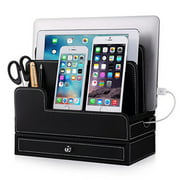 For RAVPower 60W 12A 6-Port USB Charger Docking Stand, EasyAcc Double-deck Multi-device Charging Station Stand for 40W 4-Port Charger and Tilets iPhone X 8 Note 9 S9 Leather Organization Docks- Black