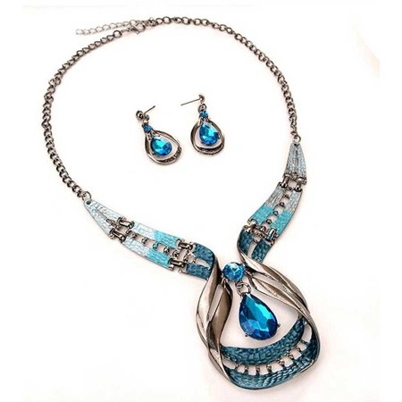 Cheap Blue Necklaces (Novadab Blue Wave Crystal Droplet Statement Necklace & Teardrop)