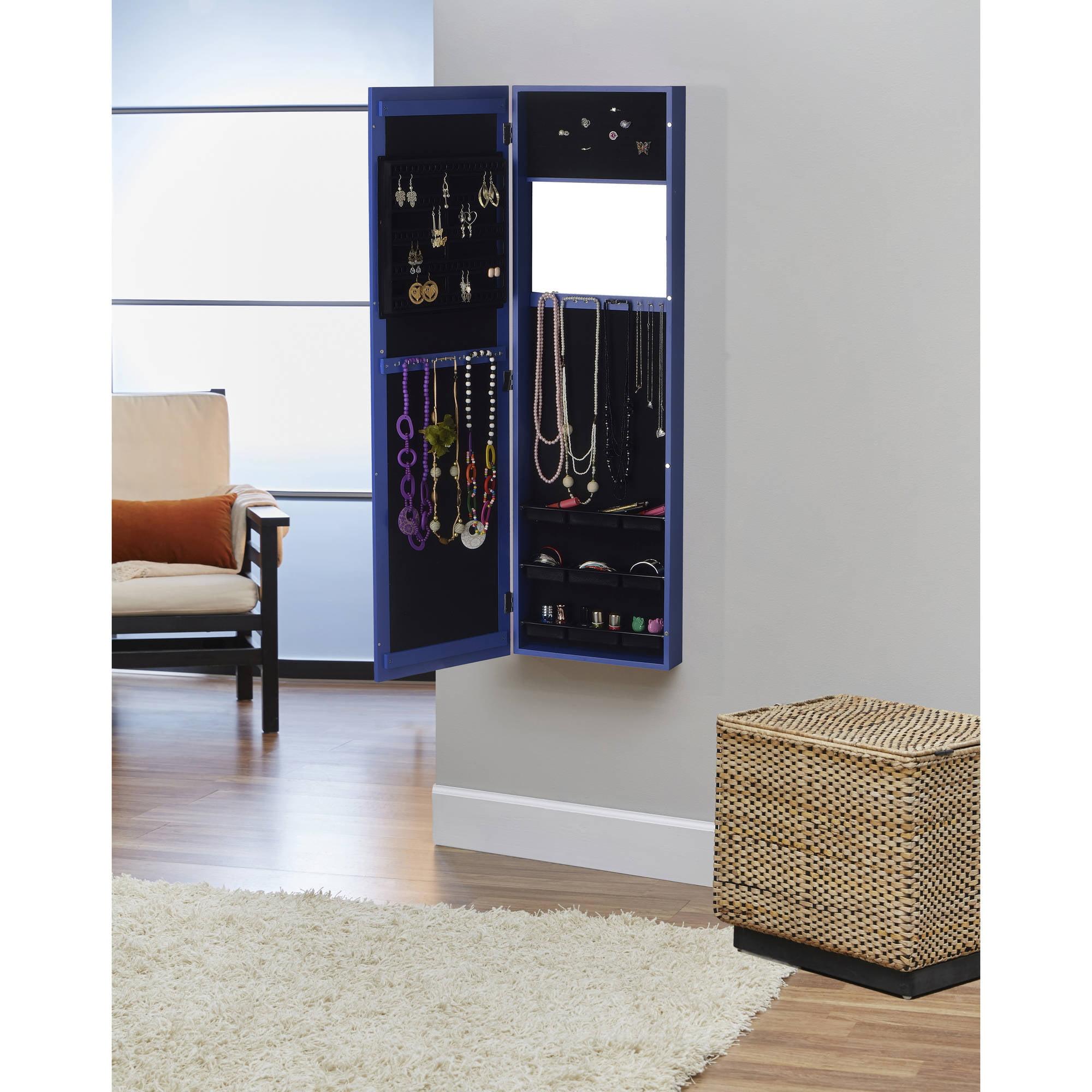 InnerSpace Over The Door/Wall Hang/Mirrored Jewelry Armoire   Walmart.com