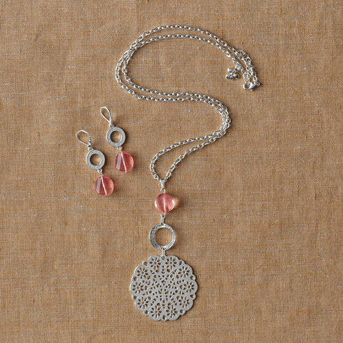 2-Piece Lace Medallion Necklace and Earring Set by Isabella Lazarte for Full Circle Exchange