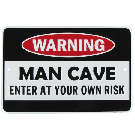 Warning Man Cave Funny Embossed Aluminum Sign US Made Novelty Bar Pub Wall Decor - Man Cave Pub Sign