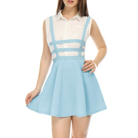 Women's Sleeveless Elastic Waist A Line Mini Suspender Skirt Dress