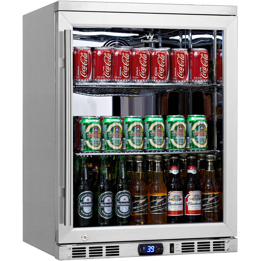 140-Can Stainless Steel Beverage Fridge