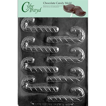 Cybrtrayd Life of the Party C442 Small Candy Canes Chocolate Candy Mold in Sealed Protective Poly Bag Imprinted with Copyrighted Cybrtrayd Molding Instructions