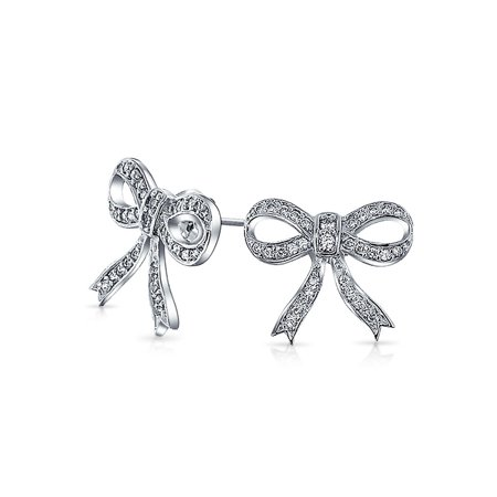 Small Vintage Style Cubic Zirconia Pave Open CZ Bow Ribbon Stud Earrings For Women For Teen 925 Sterling Silver