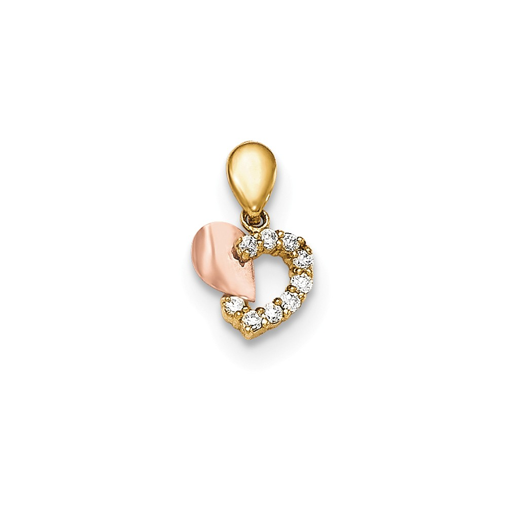 14k Two Tone Yellow and Rose Gold CZ Children's Heart Pendant