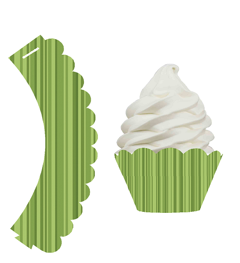 Sage Green Stripe Decorative Wrappers for Baking Cups and Baking Liners -24pk