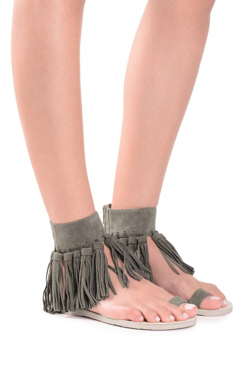 Jeffrey Campbell Borla Khaki Suede Ankle Cuff Tasseled Fringe Flat Sandals