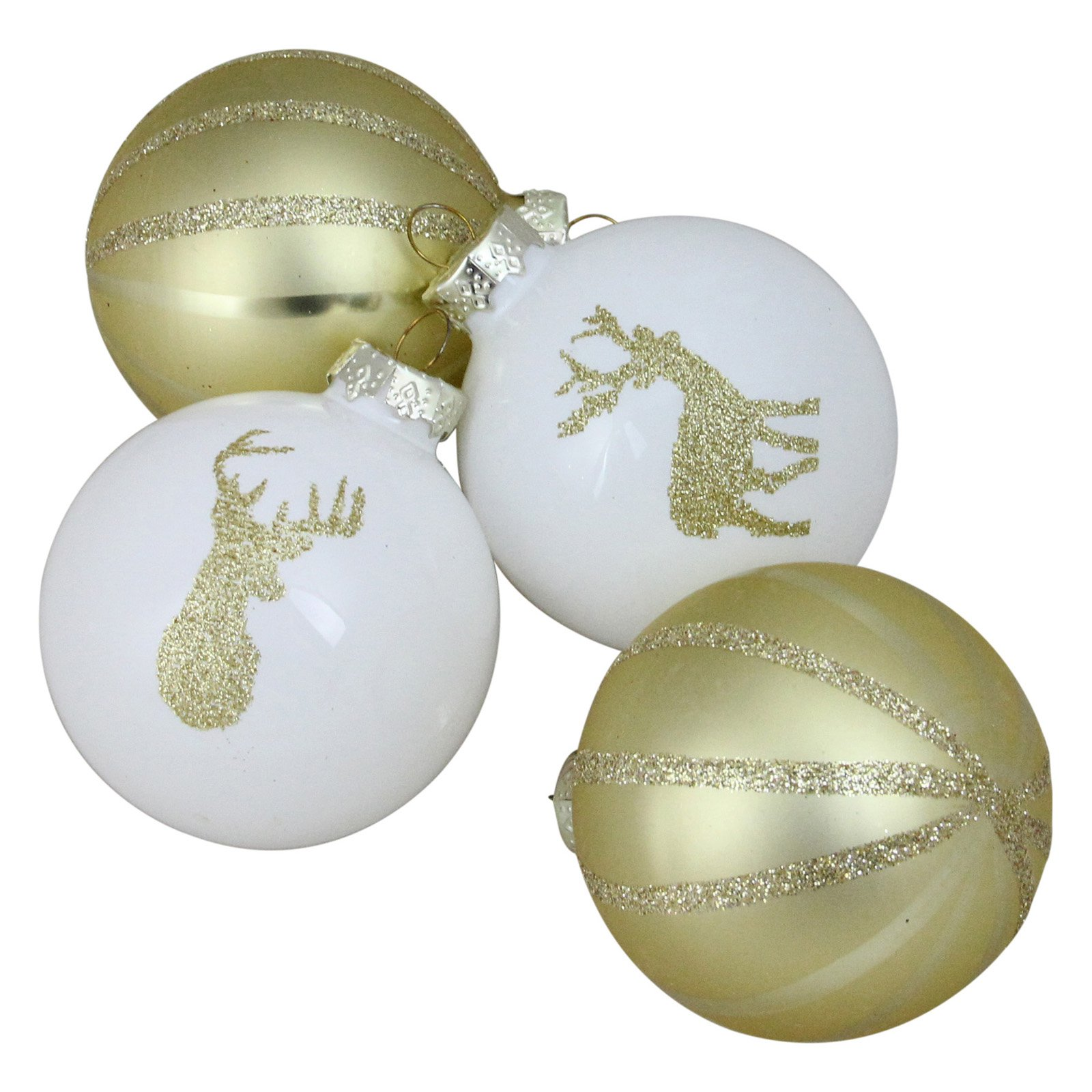 Northlight Champagne Gold and White Deer Glass Ball Christmas Ornament - Set of 4