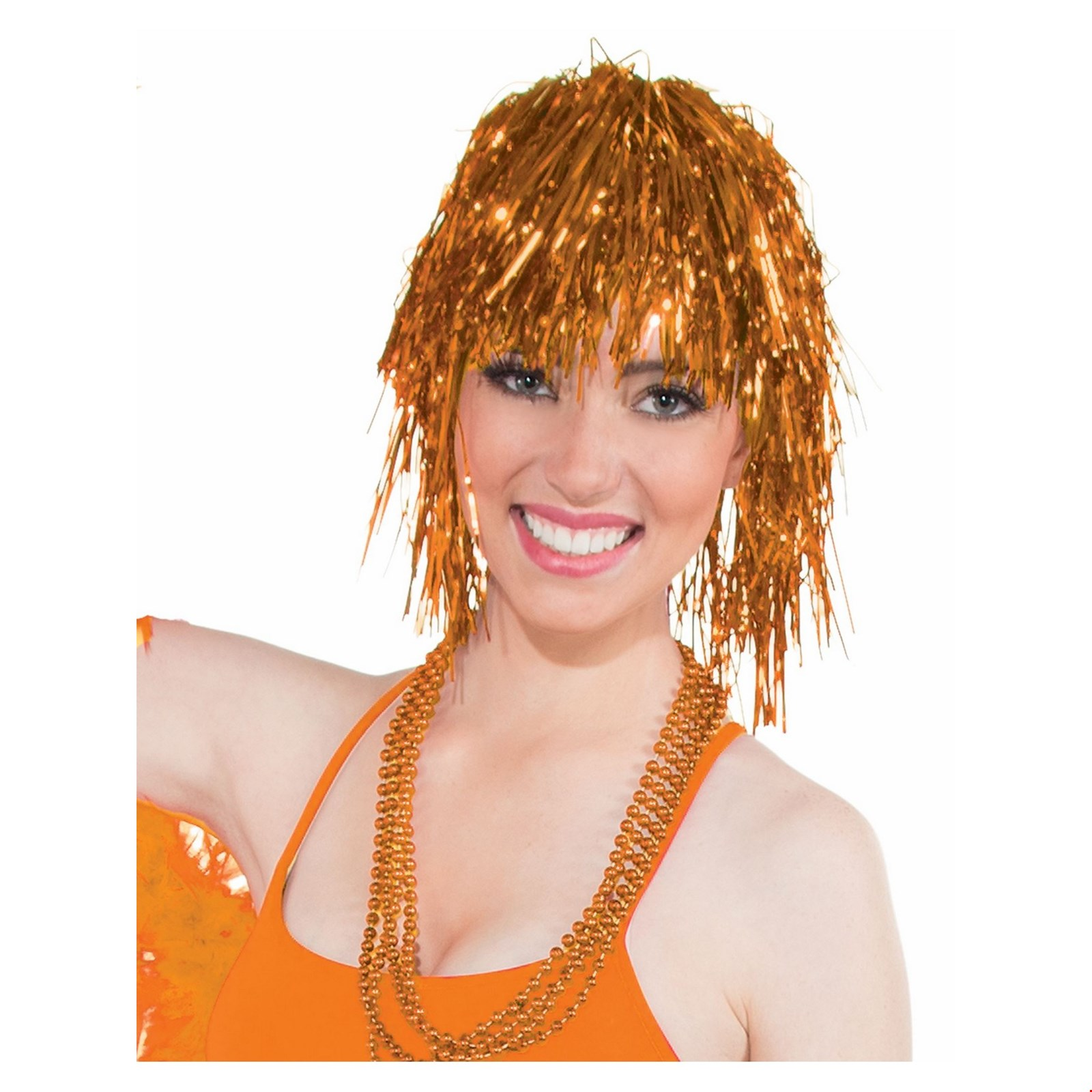 Orange Tinsle Wig Halloween Costume Accessory Walmart Com