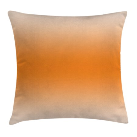 Ombre Throw Pillow Cushion Cover, Desert Sunny Hot Summer Inspired Design Room Decorations Digital Modern Art Print Image, Decorative Square Accent Pillow Case, 18 X 18 Inches, Orange, by Ambesonne