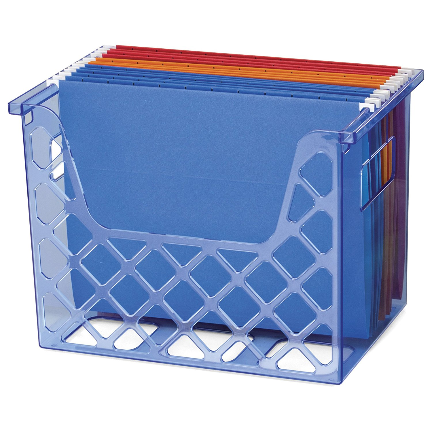 OIC Blue Glacier Desktop File Organizer, Transparent Blue (23221)Hang grips for carrying By Officemate