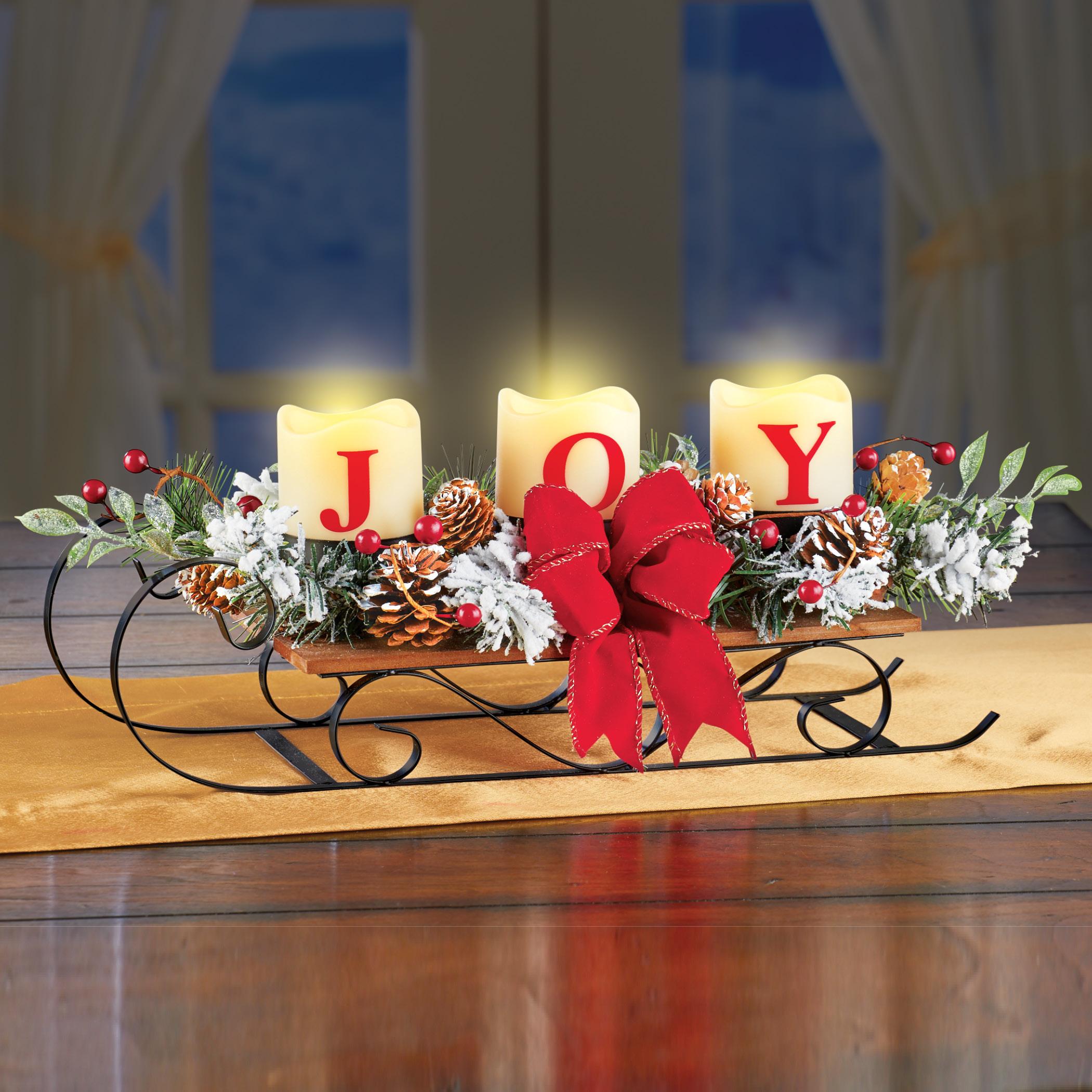 Collections Etc Lighted Joy Christmas Sleigh Table