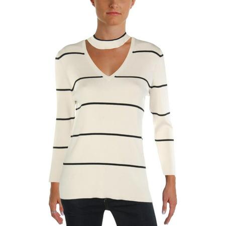 Lauren Ralph Lauren Womens Metallic Striped Choker Sweater