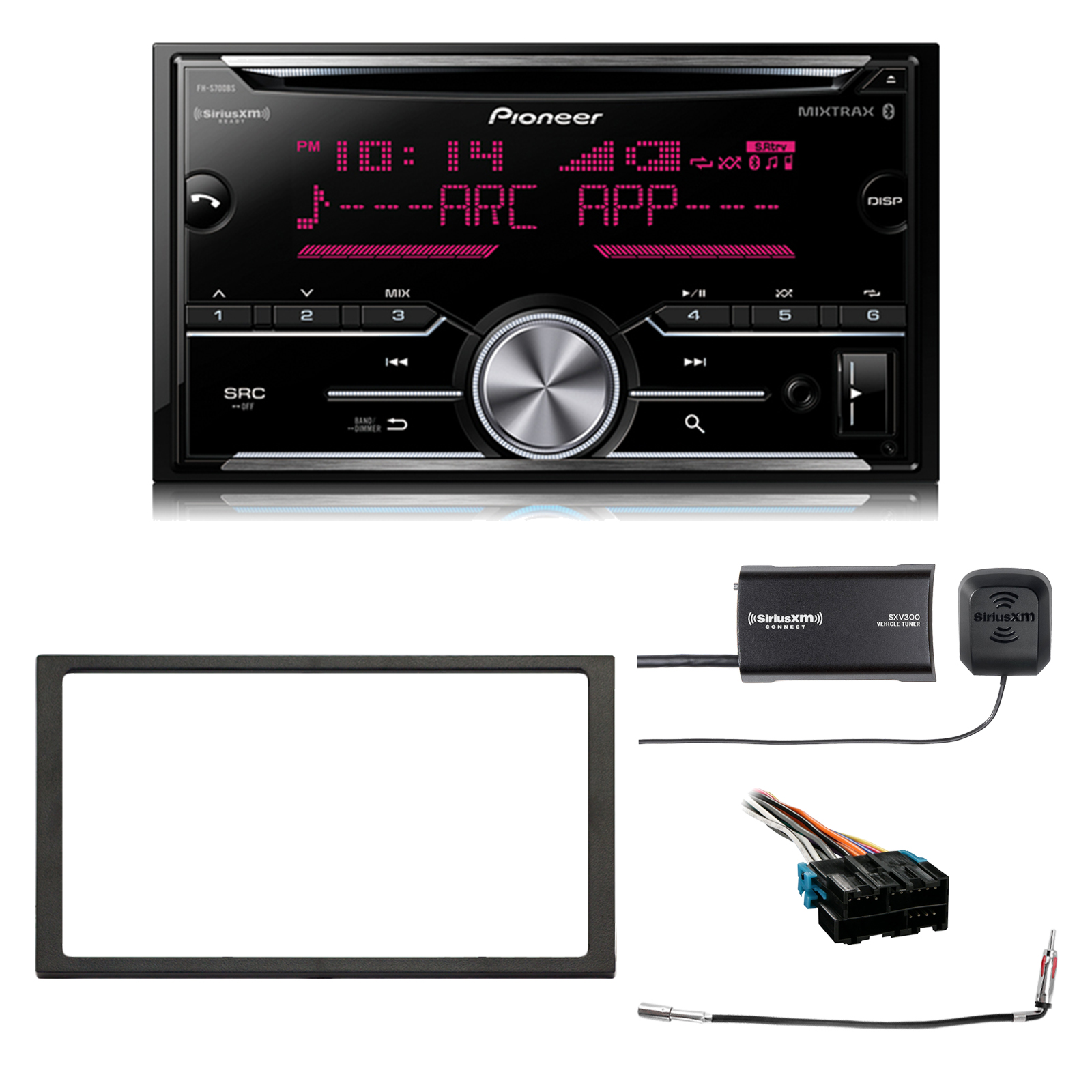 Pioneer Double DIN CD MIXTRAX Bluetooth SiriusXM-Ready Receiver, Enrock 2-DIN Install Dash Kit, Metra Radio Wiring Harness, Antenna Adapter, SiriusXM Satellite Tuner Kit (Select 1994-2005 Vehicles)