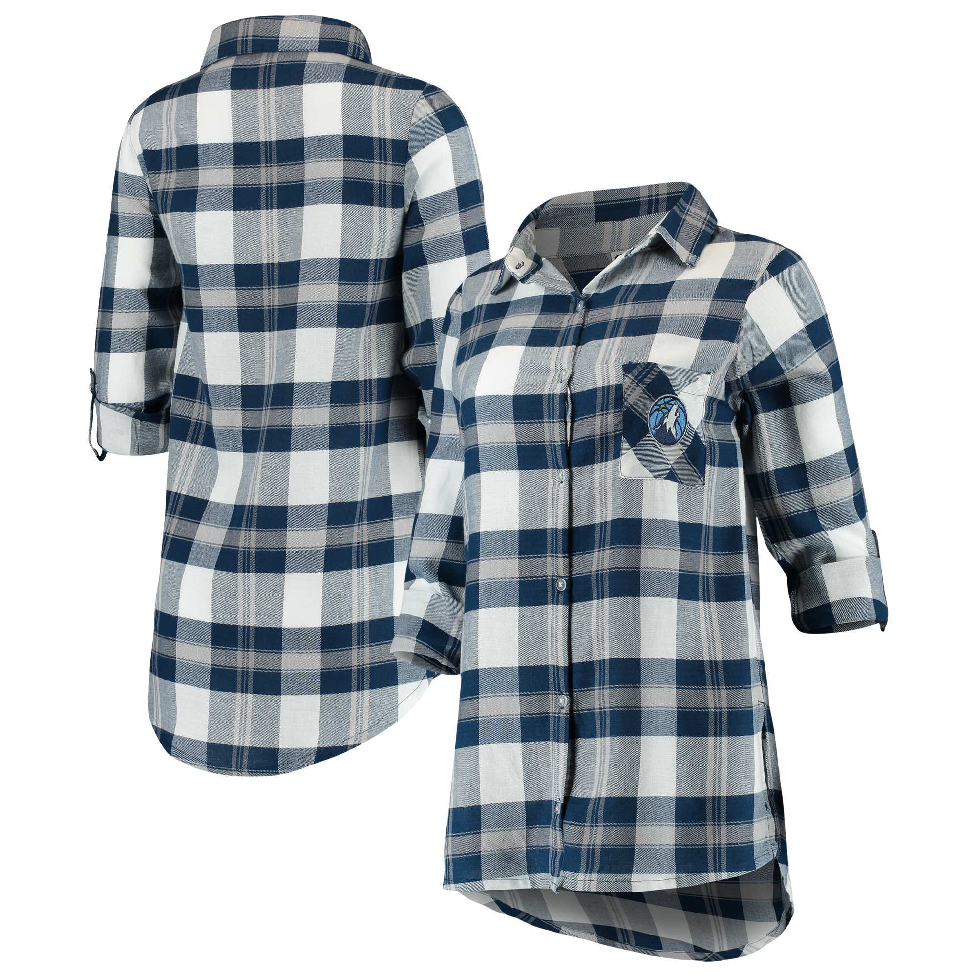Minnesota Timberwolves Concepts Sport Women's Headway Long Sleeve Plaid Tunic - Navy/Gray