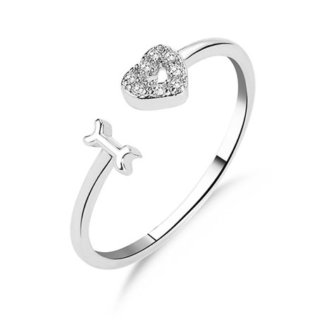 AkoaDa 14K Gold 925 Sterling Silver Diamond Opening Love Heart Ring Heart Shape Promise Band Love Rings Women Party Ring Friendship Gift Jewelry