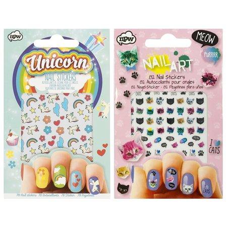 NPW Cat Crazy Nail Stickers & Unicorn Nail Stickers (set of 2, 160 ...