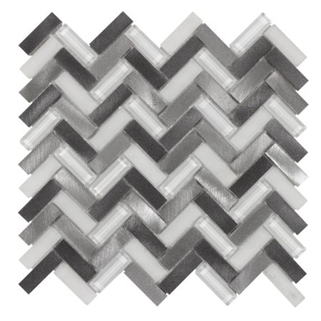 MTO0019 Modern Herringbone Chevron Gray Metallic Glass Metal Mosaic Tile ()