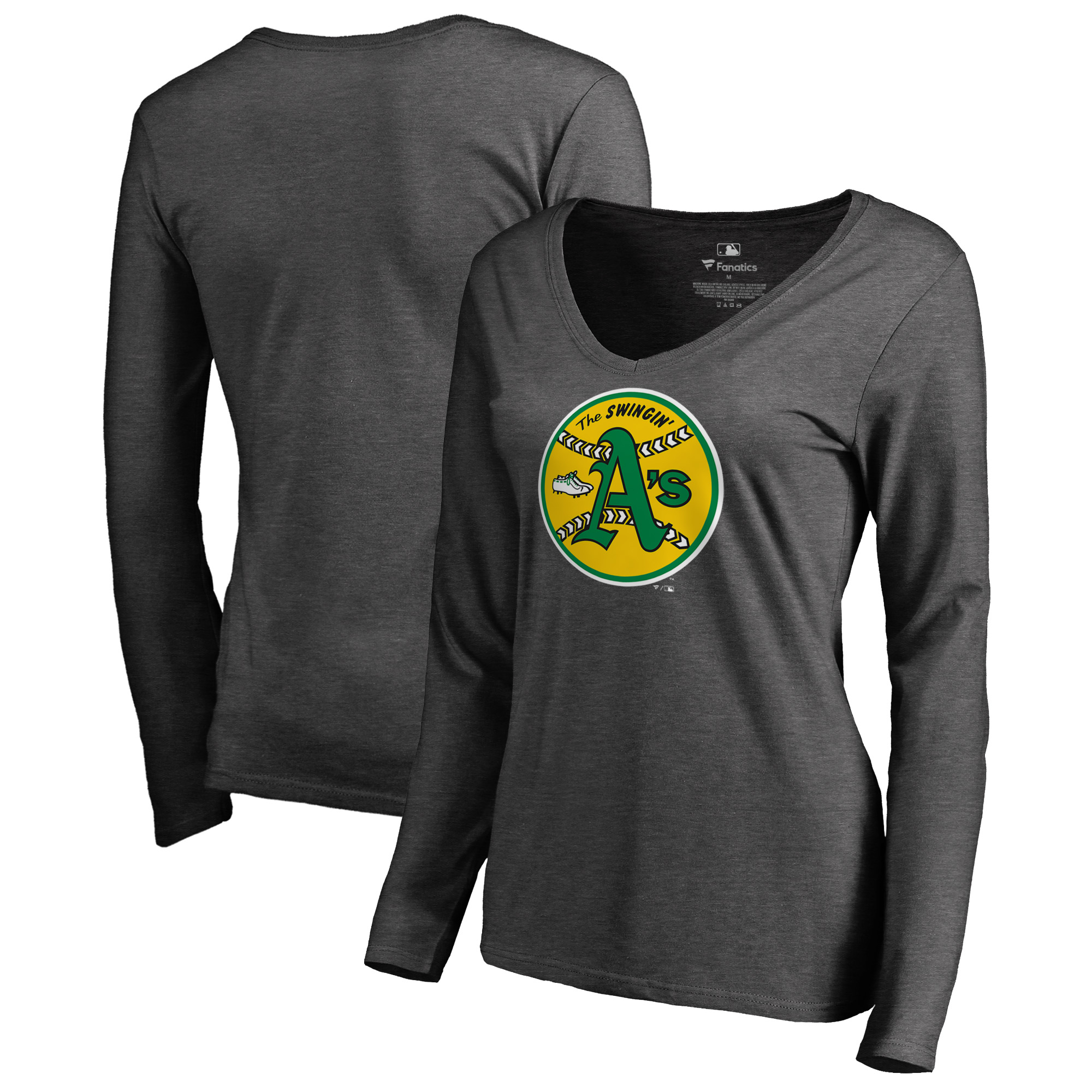 Oakland Athletics Fanatics Branded Women's Cooperstown Collection Huntington Long Sleeve V-Neck T-Shirt - Heathered Gray