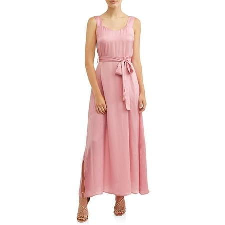 Women's Maxi Dress with Side Tie Belt