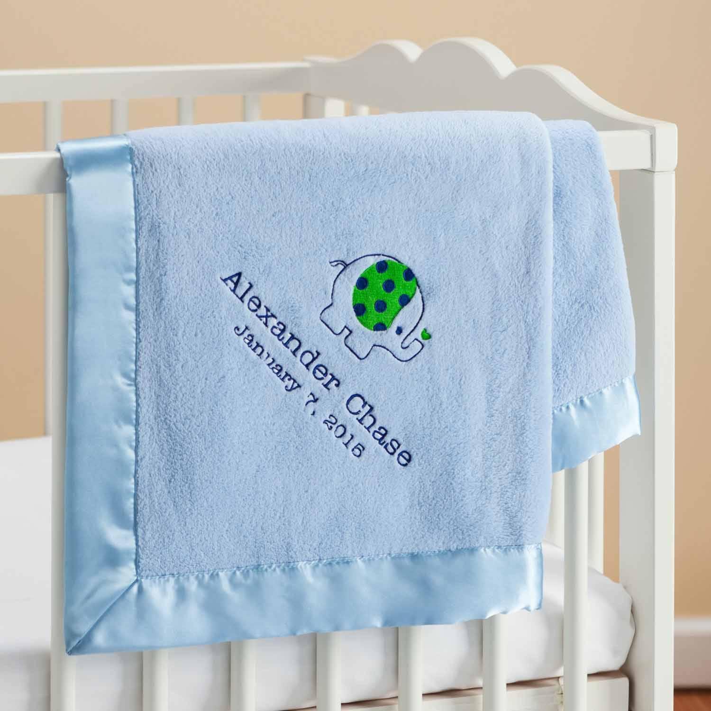 Personalized Sweet Elephant Blue Baby Blanket