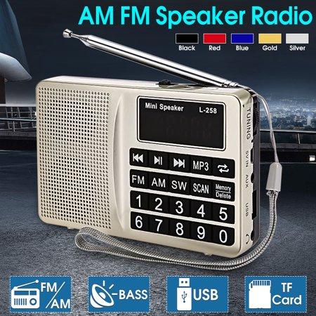 Portable Auto Digital FM AM SW Mini Radio LCD display Speaker MP3 Music Player AUX USB TF (Halloween Music Playlist Radio)