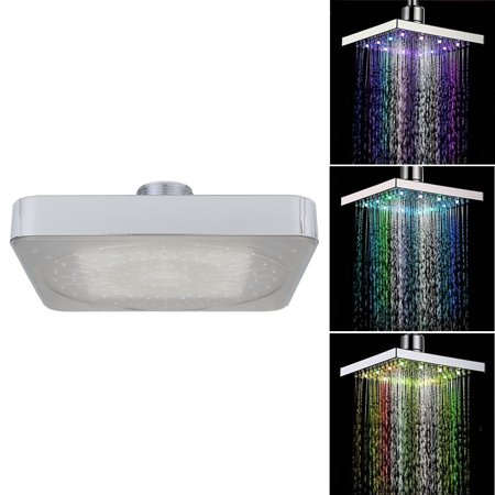 7 Colors Led Auto Changing Shower Square Head Light Home Water Bathroom Rain Vv